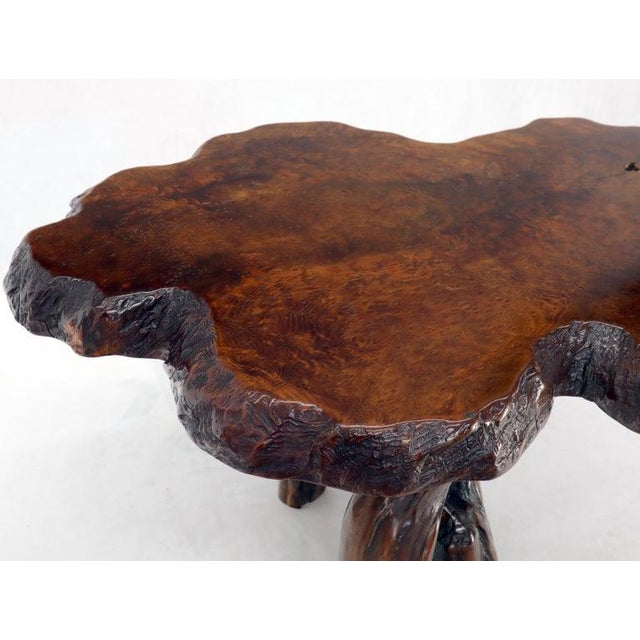 Wood Burl Wood Natural Free Edge Slab Top Gueridon Center Table For Sale - Image 7 of 12