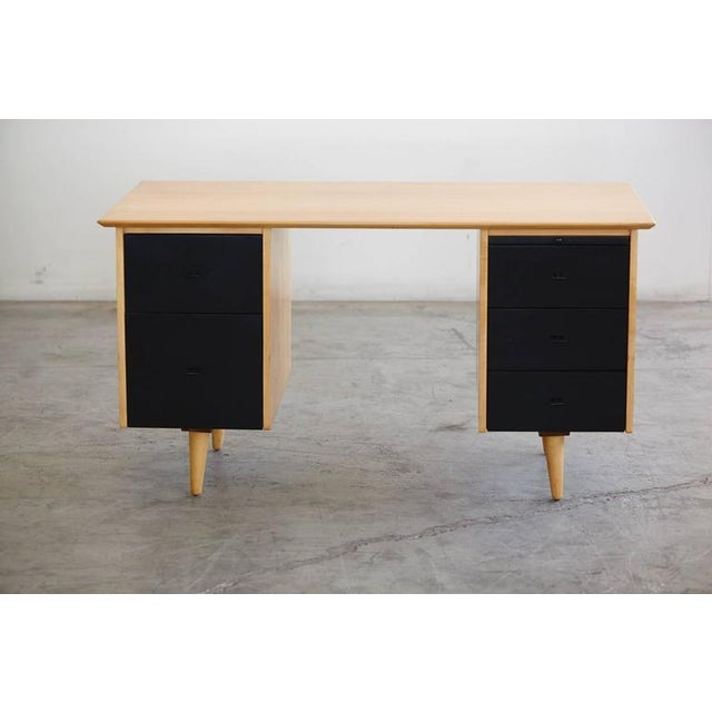 Mid-Century Modern 5 Drawer Double Sided Two Tone Black, Birch Desk by Paul McCobb for Planner Grou For Sale - Image 3 of 8