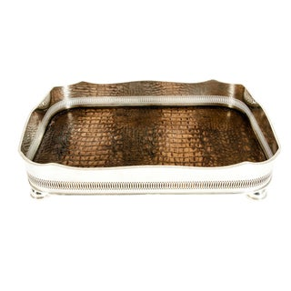 English Plated High Bordered Frame / Crocodile Interior Barware Tray For Sale