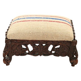 Antique French Carved Foot Stool For Sale
