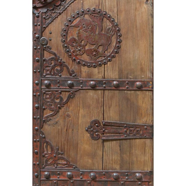 Asian Vintage Chinese Wooden Temple Doors With Iron Hardware For Sale - Image 3 of 5
