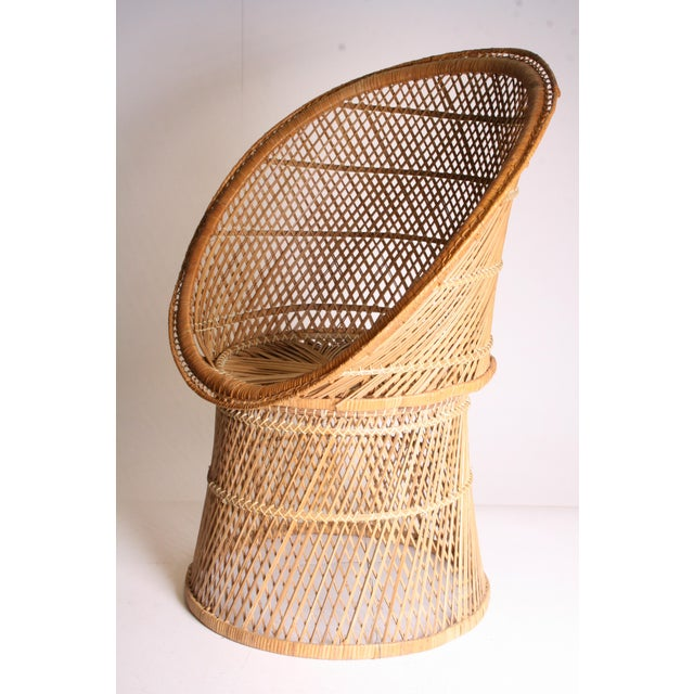 Vintage Boho Chic Wicker Pod Chair For Sale - Image 4 of 11
