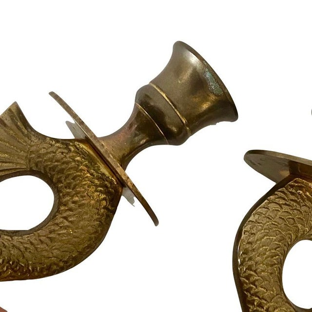 Brass Chinoiserie Brass Koi or Dolphin Candlesticks - a Pair For Sale - Image 8 of 9