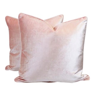 "Jaclyn Smith Blush Velvet Pillows 22""x22"" - a Pair"