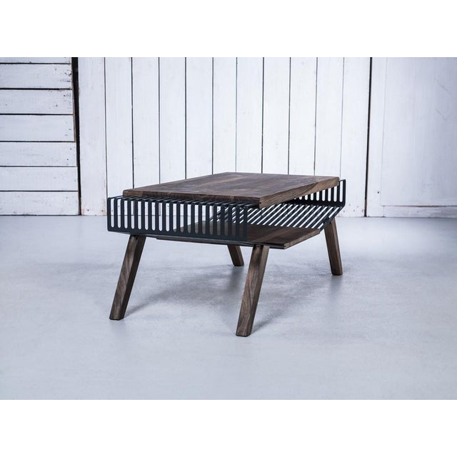 Solid Wood & Perforated Steel Coffee Table - Image 3 of 8