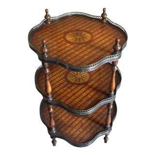 Theodore Alexander English Traditional Three Shelf Parquet Table For Sale