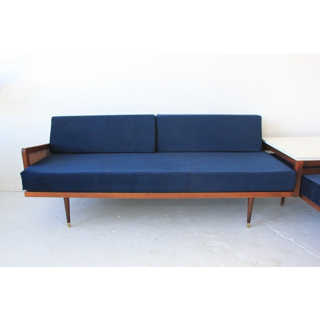 Mid-Century Modern Vintage Mid Century Modern Navy Blue Sectional For Sale - Image 3 of 10