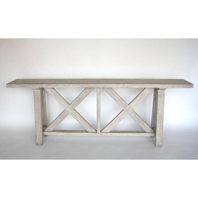 Modern Custom Oak Wood Double X Console Table in Drift Wood Finish For Sale - Image 3 of 7