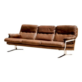 1960s Arne Norell Design for Vatne Mobler Chrome Buffalo Leather Sofa For Sale