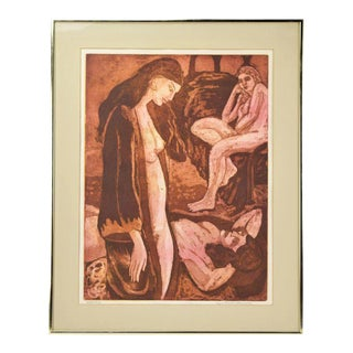 1970's Group Nude Women Color Lithograph Regina Kirschner-Rosenzweig San Francisco For Sale