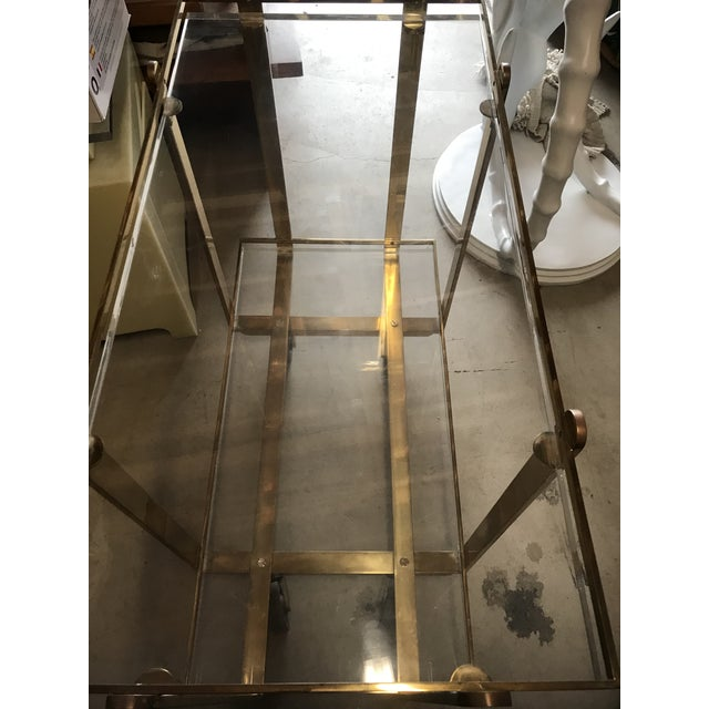1960s Extremely Rare Karl Springer Custom Ordered Mid Century Modern Heavy Brass and Lucite Bar Serving Cart Table For Sale - Image 5 of 12