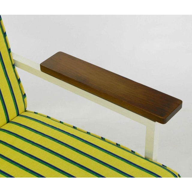 1950s George Nelson White Lacquer & Walnut Upholstered Arm Chair For Sale - Image 5 of 5