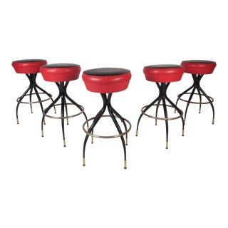 Amazing Set of Five Vintage Modern Swivel Bar Stools