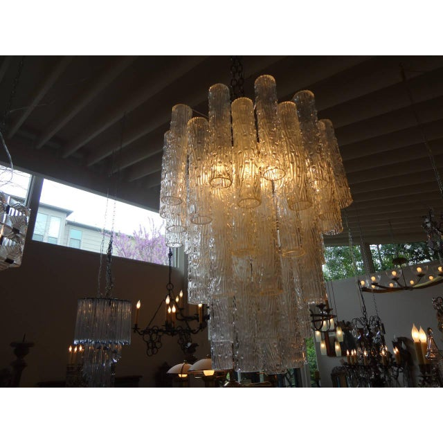 1960s Mid Century Venini Style Murano Glass Tronchi Chandelier For Sale - Image 5 of 7