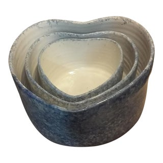 Heart Shaped Nested Pottery Bowls - Set of 3 For Sale
