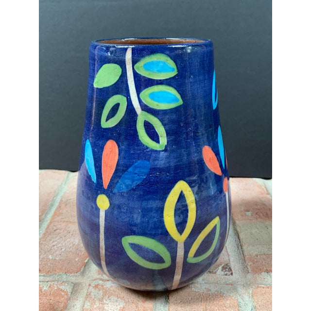 Hand Painted Terra Cotta Blue Vase With Colorful Modern Flowers For Sale - Image 4 of 10