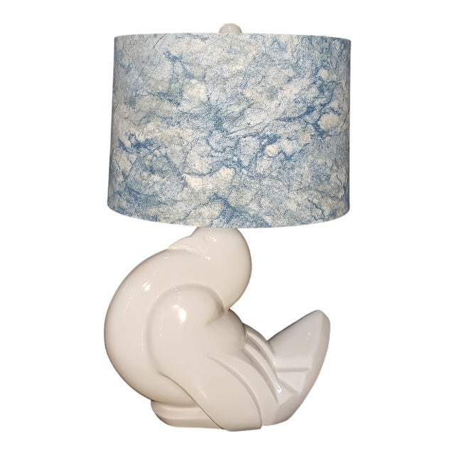 1960s Ceramic Italian Peace Dove Lamp With Shade For Sale