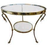 Image of 1970's Italian Hollywood Regency Maison Jansen Style Brass and Glass Two Tiered Table For Sale