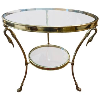 1970's Italian Hollywood Regency Maison Jansen Style Brass and Glass Two Tiered Table For Sale