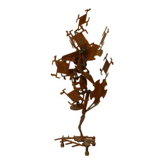 20th C. American Brutalist Rusted Iron Sculpture For Sale