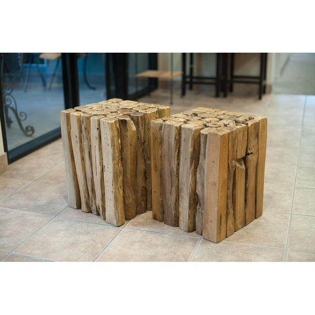 Contemporary Wood Branch Cube Side Table For Sale - Image 3 of 3