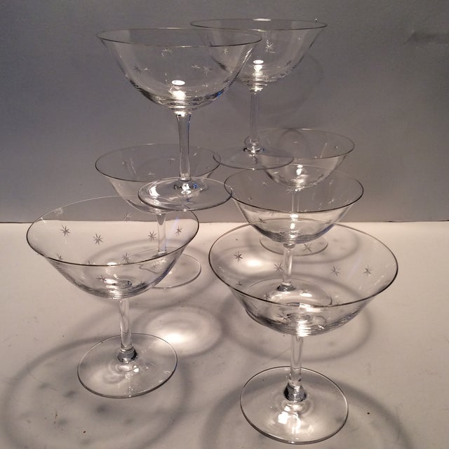 Vintage Atomic Starburst Etched Crystal Champagne Glasses - Set of 7 - Image 2 of 11