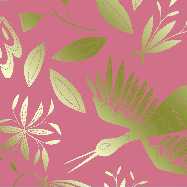 Transitional Julia Kipling Otomi Grand Wallpaper, 3 Yards, in Rose, Gold Flash For Sale - Image 3 of 4