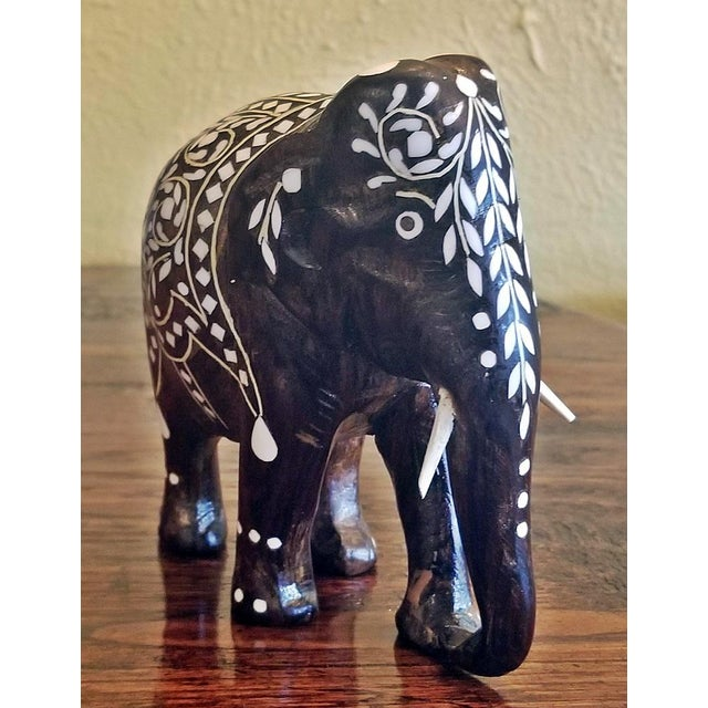 Gorgeous little Anglo-Indian Elephant. Rosewood inlaid with bone, from circa 1890. Made in Hoshiarpur, India. IN great...