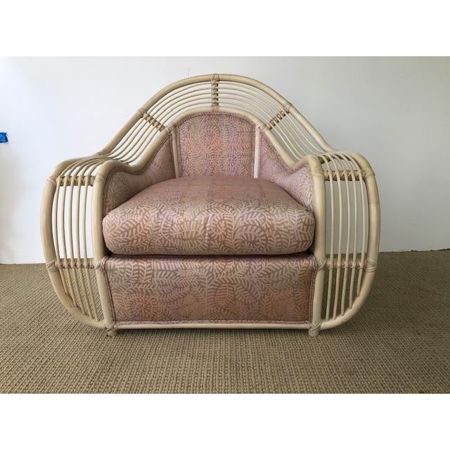 1980s Vintage Palm Beach Regency Rattan and Reed Lounge Chair & Ottoman For Sale - Image 4 of 11