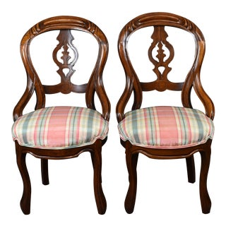 Vintage Victorian French Rococo Revival Plaid Chenille Balloon Back Chairs- a Pair For Sale
