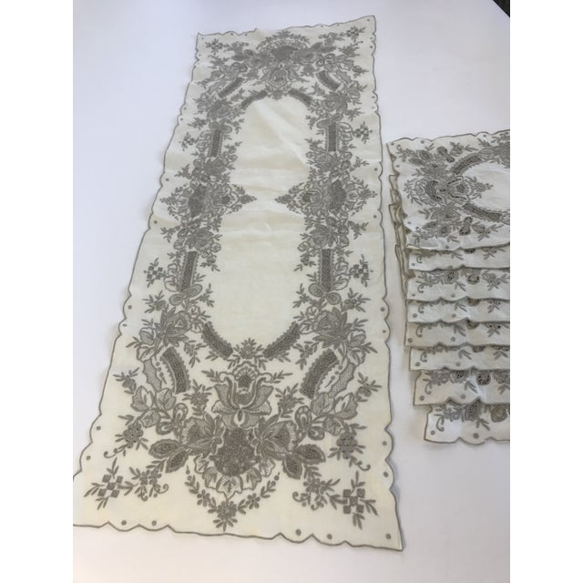 Vintage Hand Embroidered Placemats and Table Runner - Set of 9 For Sale - Image 4 of 8