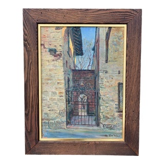 Mid 20th Century Realist Style Architectural Oil Painting by M. Van Felix, Framed For Sale