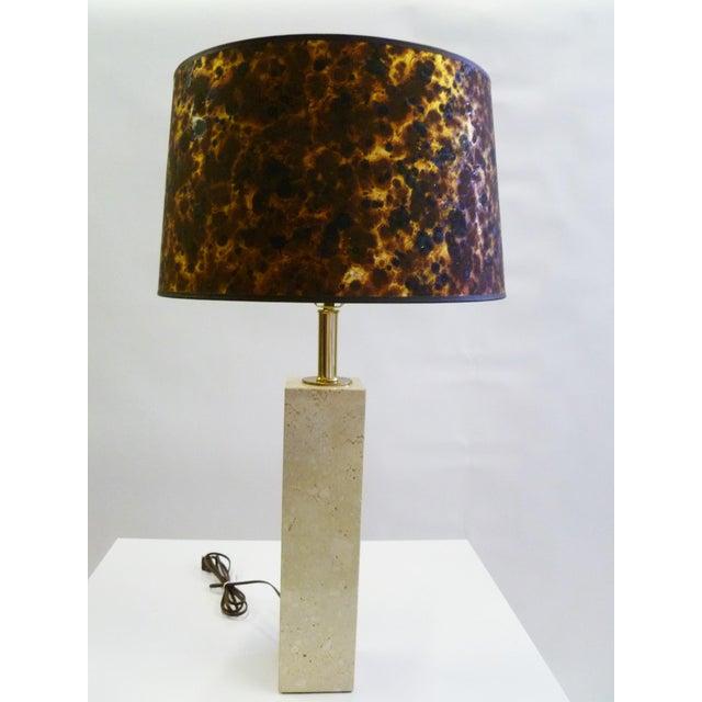Robsjohn-Gibbings Style Mid-Century Travertine Marble Table Lamp For Sale - Image 12 of 12