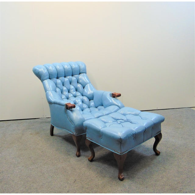 Blue Chesterfeild Light Blue Leather Lounge Chair & Ottoman For Sale - Image 8 of 8