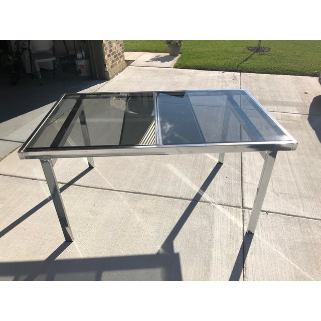 1950s Milo Baughman for Dia Chrome Smoke Glass Dining Table For Sale - Image 5 of 7