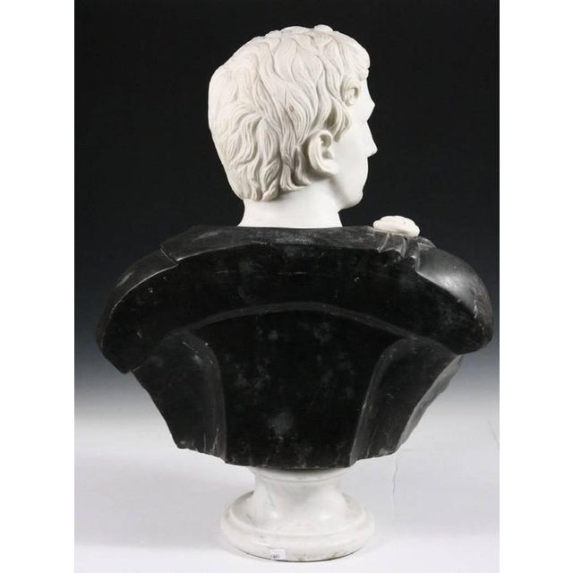 1920s Late 19th Century Black and White Italian Marble Bust of Roman Statesman For Sale - Image 5 of 7