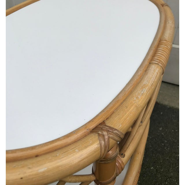 WIllow and Reed Oval Bamboo Side Table For Sale - Image 9 of 13