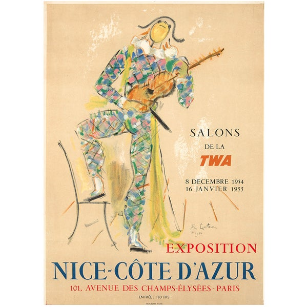 Figurative 1954 Original French Vintage Poster, Salons De La Twa - Jean Cocteau For Sale - Image 3 of 3
