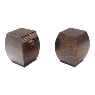 Vintage Mid Century Bombey Barrel Shape Widdicomb End Tables Stands- a Pair For Sale