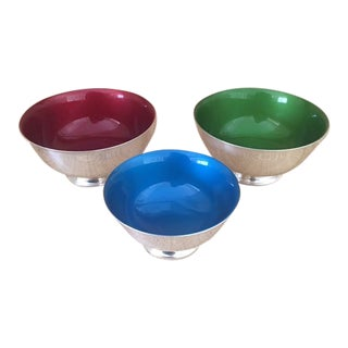 Reed and Barton Revere Bowls With Enameled Interior - Set of 3 For Sale