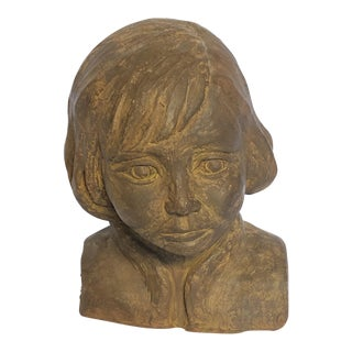 Vintage Mid-Century Signed Clay Sculpture Bust Sculpture For Sale