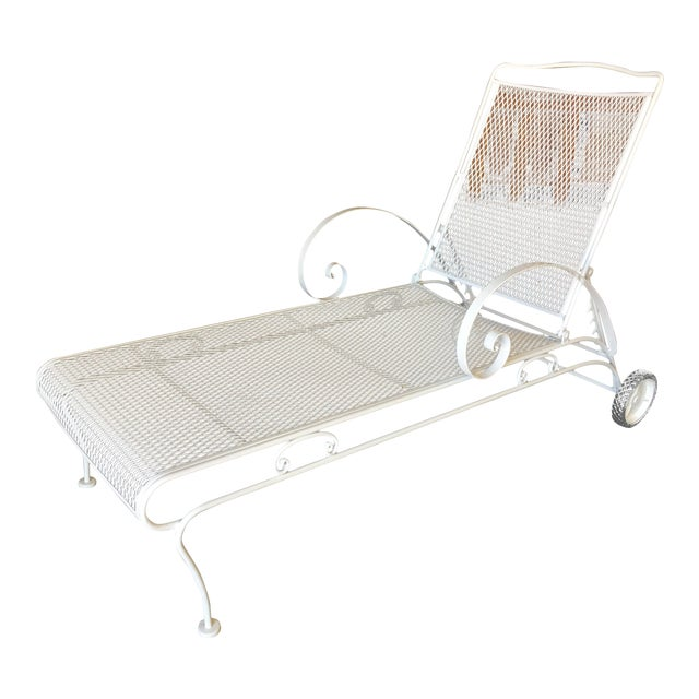 Iron Mesh Outdoor / Patio Chaise Lounge by Woodard For Sale