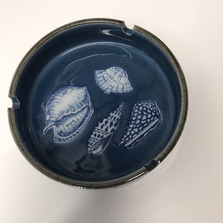 Vintage Blue and White Round Ceramic Ashtray Preview