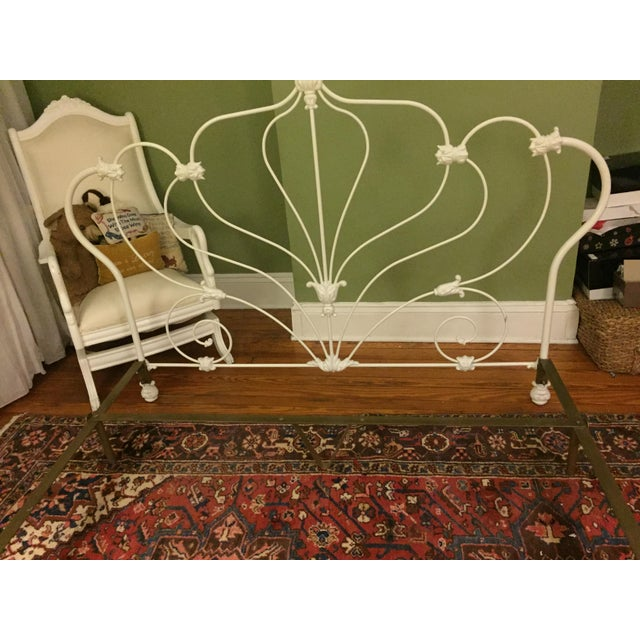Antique White Rod Iron Double or Queen Bedframe - Image 7 of 7