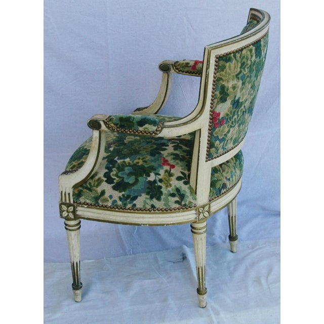 Scalamandre Marly Velvet Tapestry Fabric Armchair - Image 10 of 11