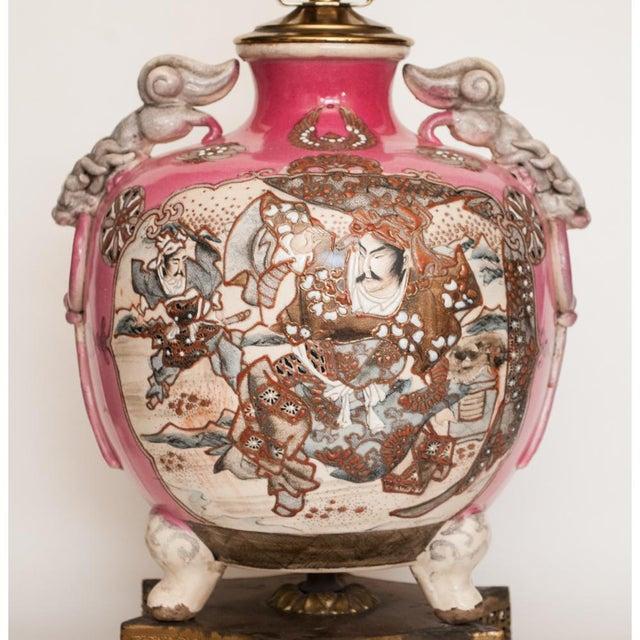 Asian Meiji Era Japanese Satsuma Vase as Lamp For Sale - Image 3 of 13
