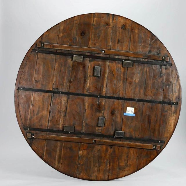 19th Century English Round Chestnut Farmhouse Dining Table - Image 8 of 9