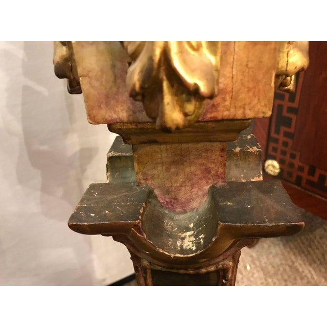 A Continental Italian Gilt Distressed Continental Pedestal For Sale - Image 10 of 11