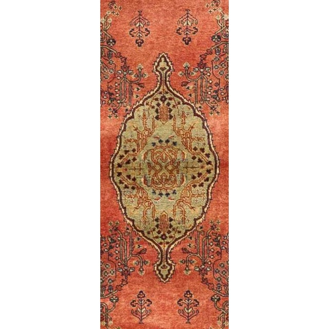 """Make an impact in your living space, by rolling out this one of a kind antique re creation runner rug. 3'x 11'8"""""""