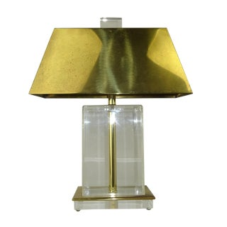 Vintage 1970s Italian Lucite & Brass Table Lamp